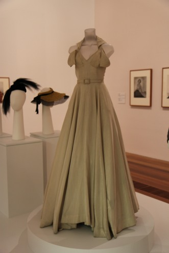 Peggy Stone's gold lamé evening gown, designed by Hall Ludlow in 1953
